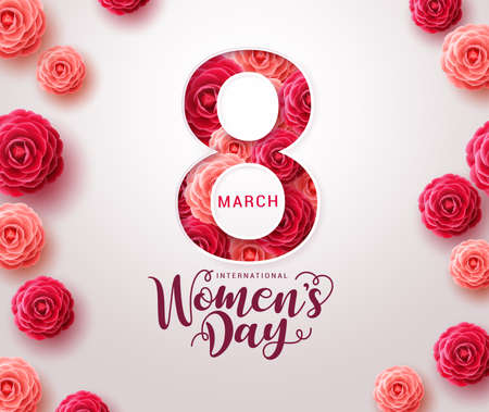 March 8 women's day design. Women's day vector concept design for international woman celebration with camellia flowers background. Vector illustration Vector Illustratie