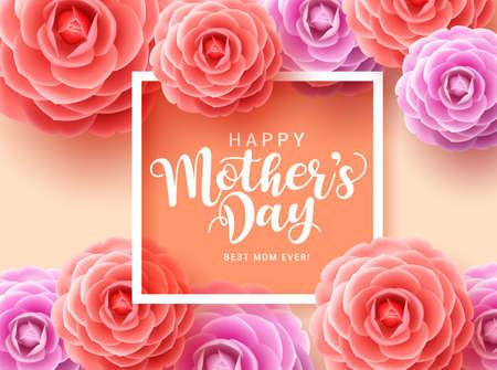 Conception de cartes de voeux vectorielles pour la fête des mères. Typographie de la fête des mères heureuse pour les mères avec des fleurs de camélia colorées et un cadre blanc sur fond orange. Illustration vectorielle. Vecteurs