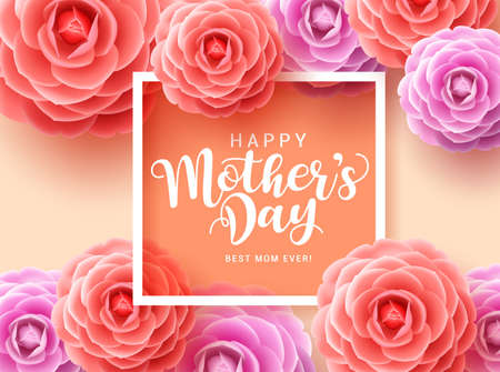 Mother's day vector greetings card design. Happy mother's day typography for mothers with colorful camellia flowers and white frame in orange background. Vector illustration. Vector Illustration