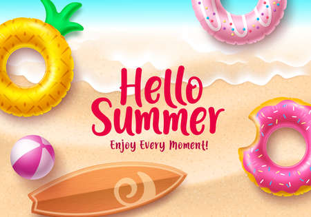 Hello summer banner design. Hello summer text with colorful beach elements like floating donuts and pineapple floaters in seaside top view background design for holiday season.