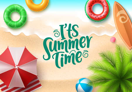It's summer time banner design. Summer text in seaside top view background with colorful beach elements like floaters, surfboard, beach ball, umbrella and tropical palm tree for holiday season.