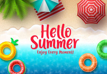 Hello summer text banner. Summer beach top view with colorful floating beach elements, umbrella and tropical palm tree in seashore background for holiday season.