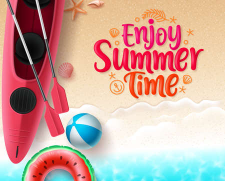Summer time vector banner design. Enjoy summer text in sand with space for text and colorful beach elements like floating kayak boat, beach ball, floater and sea shells in top view seaside background. Vector illustration
