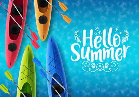 Hello summer vector banner design. Hello summer text with colorful floating kayak boat elements in sea top view background for holiday season. Vector illustration.