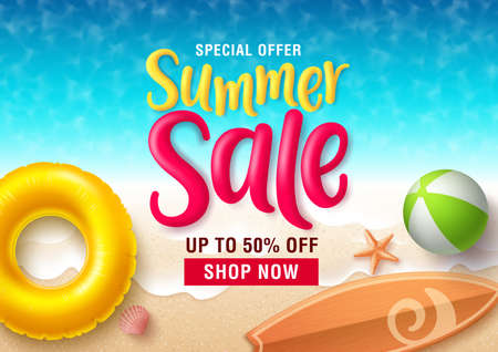 Summer sale vector banner design. Summer sale discount text in seaside top view background with beach elements like floater, beach ball and surfboard for seasonal promotion. Vector illustration.