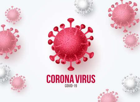 Corona virus covid-19 vector banner background. Covid-19 virus outbreak pandemic disease and worlds deadly novel virus in white background. Vector illustration.