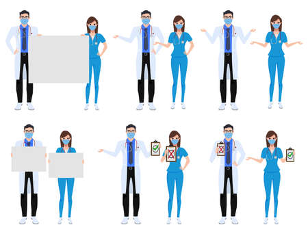 Medical characters set vector concept design. Covid-19 doctor and nurse front liners character presenting sign in white board about corona virus outbreak isolated in white background. Vector illustration.