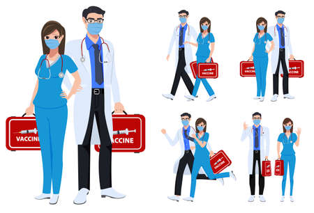 Medical staff character set vector concept design. Covid-19 front liners doctor and nurse characters fighting corona virus and holding vaccine isolated in white background. Vector illustration.