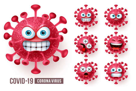 Corona virus emoticons vector set. Covid19 corona virus emoticons or emojis with angry and scary facial expressions in white background. Vector illustration.