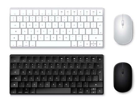 Keyboard and mouse vector set. 3D realistic keyboards and mouse in black and white colors with top view isolated in white. Vector illustration.
