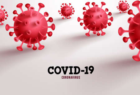 Covid-19 vector banner background. Coronavirus and covid-19 text in empty space in white background for sars ncov viral pandemic. Vector illustration. 向量圖像