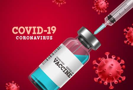Coronavirus vaccine vector banner. Covid-19 coronavirus vaccine bottle and syringe injection for covid19 immunization treatment in red background. Vector illustration.