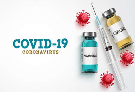 Covid-19 coronavirus vaccine treatment vector background. Covid19 vaccine bottle, syringe injection tool and coronavirus text in white background for corona virus immunization. Vector illustration. 向量圖像