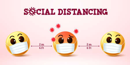 Smiley emoji social distancing vector sign. Social distancing text with smiley emoji preventing covid-19 coronavirus infections in public. Vector illustration concept.