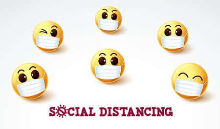 Emoji smiley social distancing vector sign. Social distancing emoji smileys wearing face mask for covid-19 coronavirus preventive measure. Vector illustration. 向量圖像