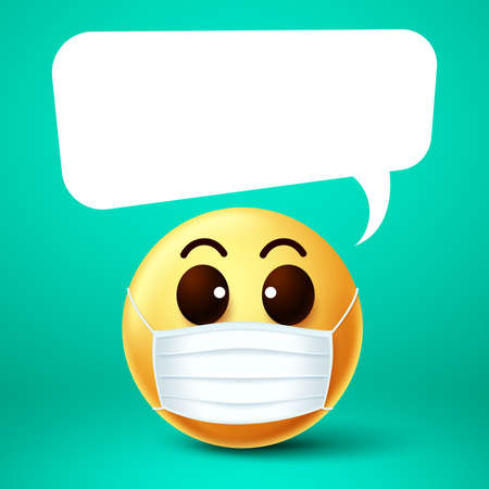 Emoji smiley face mask vector template. Emoji smiley wearing face mask with empty white speech bubble while talking for covid-19 coronavirus outbreak. Vector illustration.