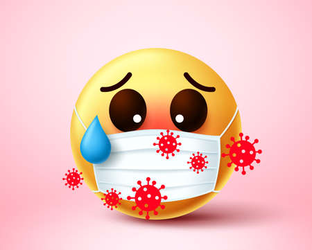 Emoji smiley infected of covid-19 coronavirus. Emoji smiley wearing face mask infected and exposed in 2019-ncov coronavirus outbreak. Vector illustration. 向量圖像