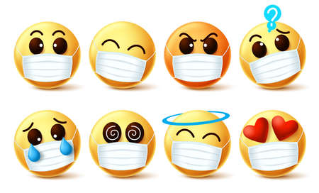 Emoji smiley with covid-19 face mask vector set. Emoji smiley with facial expressions wearing facemask to prevent covid-19 coronavirus infection. Vector illustration.