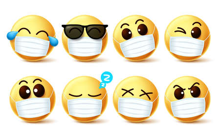 Smiley emoji facemask vector set. Smiley emoji with covid-19 face mask and eye expressions to prevent 2019-ncov coronavirus infection. Vector illustration.