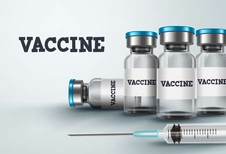 Vaccine bottles vector design. Vaccination medicine with syringe and vaccine bottle for covid-19 coronavirus antiviral immunization in white background. Vector illustration.