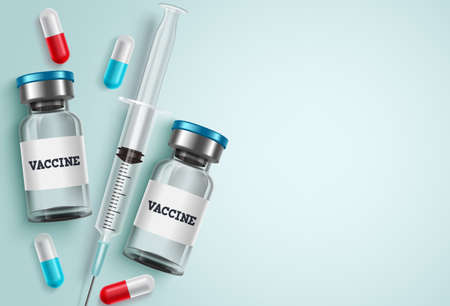 Medicine vaccine vector background. Vaccine bottle, syringe injection and capsule medicine with white empty blank space for text for covid-19 coronavirus medical treatment background.