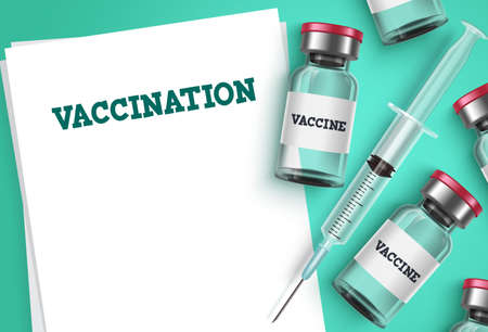 Vaccination vector background template. Vaccine shot, syringe injection and empty blank prescription paper with vaccination text for covid-19 coronavirus immunization and prescription. Vector illustration. Vettoriali