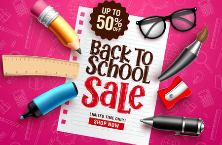 Back to school sale vector banner. Back to school sale discount text in white paper with educational elements & objects in colorful pink pattern background for education promotion. Vector illustration. Stock Illustratie