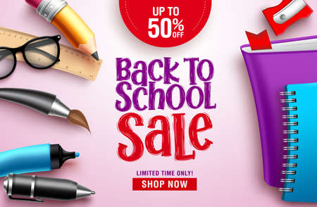 Back to school sale vector banner design. Back to school sale discount text in white space with colorful education elements, objects and items for educational promotional design. Vector illustration.