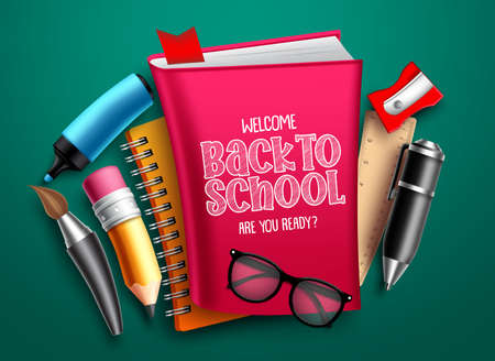 Back to school vector design. Welcome back to school text with colorful education supplies, elements and objects for educational and learning designs. Vector illustration. 向量圖像