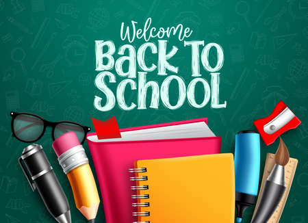Back to school vector banner. Back to school welcome text with education items, supplies and objects in green pattern background foe educational design. Vector illustration.