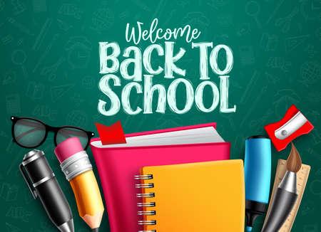Torna alla bandiera di vettore della scuola. Ritorno a scuola testo di benvenuto con articoli educativi, forniture e oggetti in sfondo verde per il design educativo nemico. Illustrazione vettoriale.