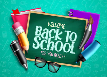 Back to school educational design. Welcome back to school text with chalkboard, education items and colorful school supplies. Vector illustration.