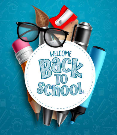 Back to school education vector template. Welcome back to school text in white empty space with colorful educational supplies and school elements in blue pattern background. Vector illustration.