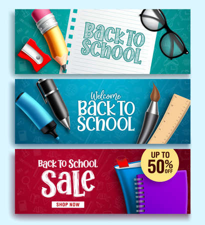 Back to school vector web banner set. Back to school educational background design with colorful education elements and background patterns. Vector illustration.