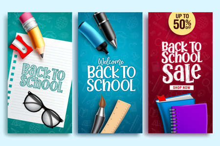 Back to school vector web poster. Back to school education banner design with colorful school elements and background patterns. Vector illustration.