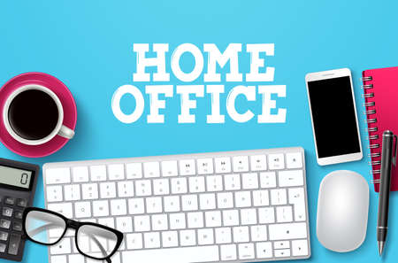 Home office desk vector background. Home office text with freelance elements in blue background for remote business workplace design template. Vector illustration.