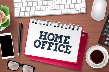 Home office work vector banner template. Home office text in white space with freelancing elements for remote online computer business workplace. Vector illustration.