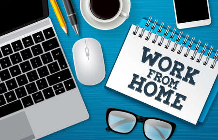 Work from home vector background template. Work from home text in white space with freelance business elements for remote online entrepreneur job. Vector illustration.