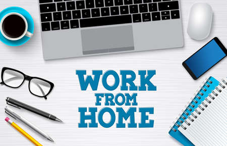 Work from home office vector background banner. Freelance remote online business job background for work from home workplace with computer elements. Vector illustration.