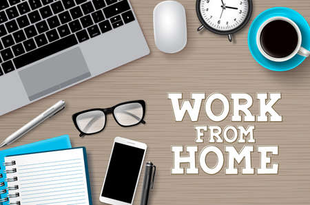 Work from hoome desk vector background. Work from home text with remote online business elements forfreelance internet global job in brown wood background. Vector illustration. 向量圖像