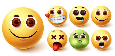 Smileys emoji vector set. Smiley emojis cute yellow face in happy, in love, hungry, tired, angry and vomit mood and feelings for character emoticon elements design. Vector illustration