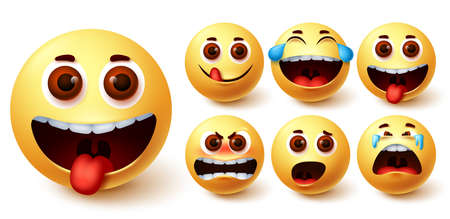 Smiley emojis vector set. Smileys emoji cute yellow face with naughty, angry, laughing, surprise, crying and happy feelings for design elements. Vector illustration