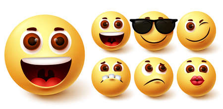 Emojis smiley vector set. Emoji smileys cute yellow face in different facial expressions like happy, kiss, sad, naughty and weird  for avatar social media collection design. Vector illustration