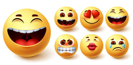 Emoji smileys yellow vector set. Smiley emoticon yellow cute faces in happy, cute, in love, laughing, crying and angry facial emotion for emoji icon collection design. Vector illustration