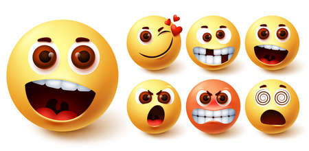 Smiley emoticon vector set. Smileys emoji faces in different facial expressions and feelings like surprise, in love, happy, mad, angry and dizzy for social media design element. Vector illustration 向量圖像