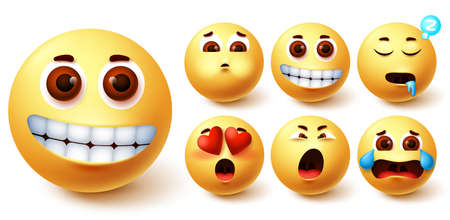 Smiley emoji vector set. Emojis yellow cute face with happy, in love, sleepy, vomit and crying mood facial expressions for character collection design. Vector illustration