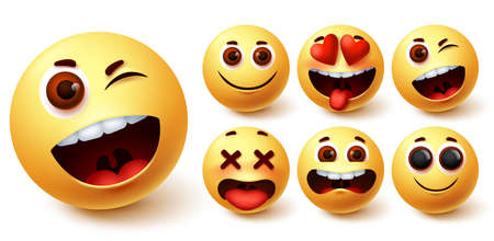 Smiley emoji vector set. Smileys yellow face cute emojis with funny, happy, naughty and in love facial expression for emoticon character collection design. Vector illustration