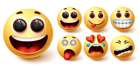 Smiley emojis vector set. Smileys emoji yellow face with happy, excited, hungry, dizzy, and broken hearted facial expression for social media character design collection. Vector illustration