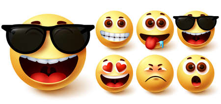 Emoji smiley vector set. Cute yellow smileys face with different feelings and facial expressions like happy in sunglasses, hungry, surprise, in love and sad for emoticon avatar collection. Vector illustration 向量圖像