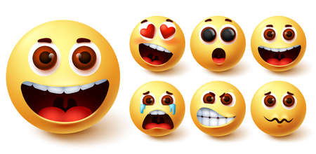 Emojis smiley vector set. Emoji smileys cute yellow face with happy, crying, angry, surprise and in love facial expression for avatar character design element. Vector illustration